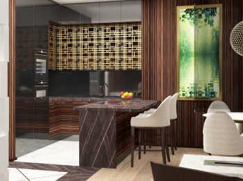Дизайнерская отделка кухни в ЖК Резиденция Тверская
